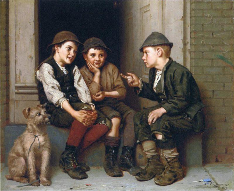 Plotting Mischief   John George Brown   oil painting