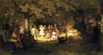 Picnic Party in the Woods | John George Brown | oil painting