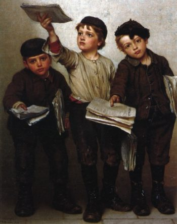 Morning Papers | John George Brown | oil painting