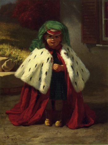 Little Girl with Ermine Coat | John George Brown | oil painting