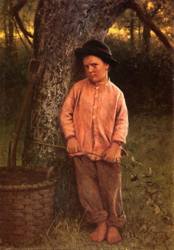 I Wont Go | John George Brown | oil painting