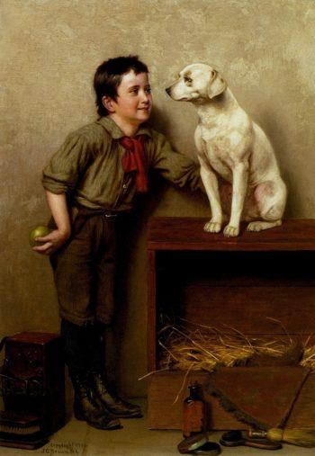 His Favorite Pet | John George Brown | oil painting