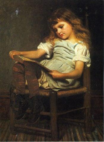 First Reader | John George Brown | oil painting