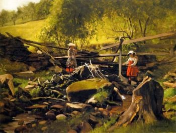 Fishing Fort Lee New Jersey | John George Brown | oil painting