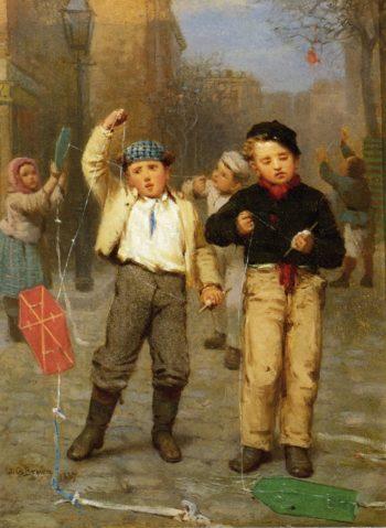 Flying Kites | John George Brown | oil painting