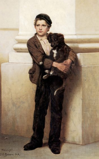 Frank and His Dog | John George Brown | oil painting