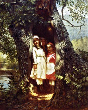 Hiding in the Old Oak | John George Brown | oil painting