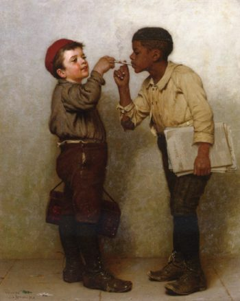 Give Us a Light | John George Brown | oil painting