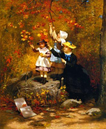 Gathering Autumn Leaves | John George Brown | oil painting