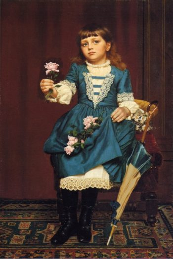 Daisy McComb Holding a Pink Rose | John George Brown | oil painting