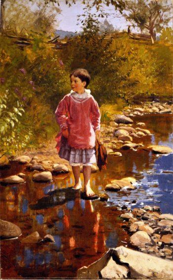Crossing the Brook | John George Brown | oil painting