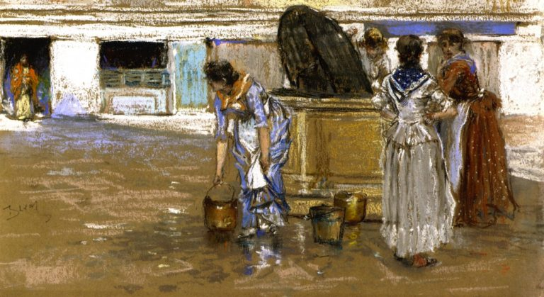 A Gossiping Place in Venice | Robert Frederick Blum | oil painting