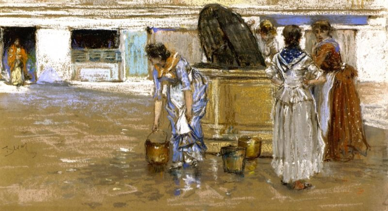 A Gossiping Place in Venice   Robert Frederick Blum   oil painting