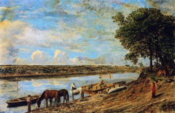Red River Ferry across to St Boniface | William George Richardson Hind | oil painting