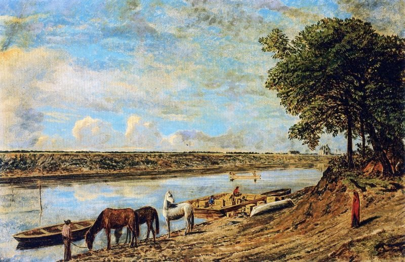 Red River Ferry across to St Boniface   William George Richardson Hind   oil painting