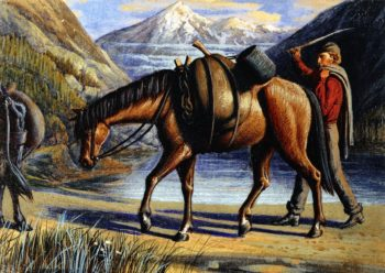Pack Horse Athabaska River Rocky Mountains | William George Richardson Hind | oil painting