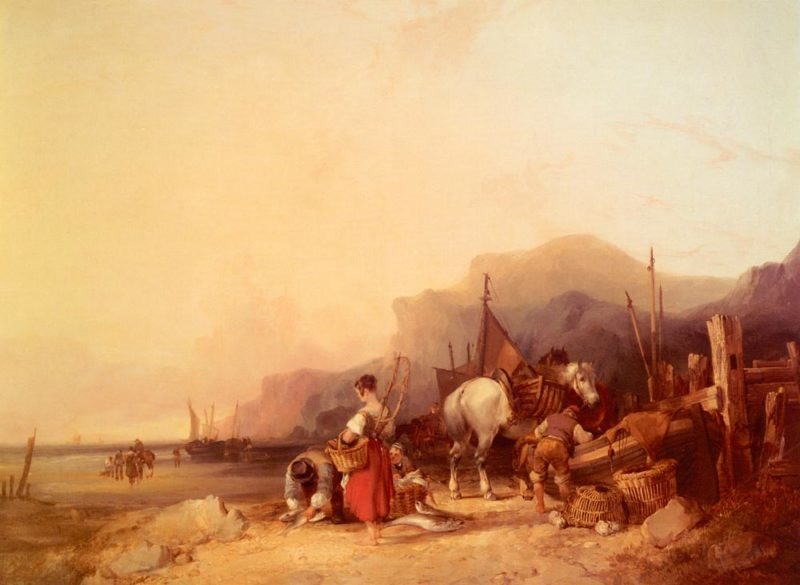 Unloading The Catch Near Benchurch Isle Of Snr William Shayer
