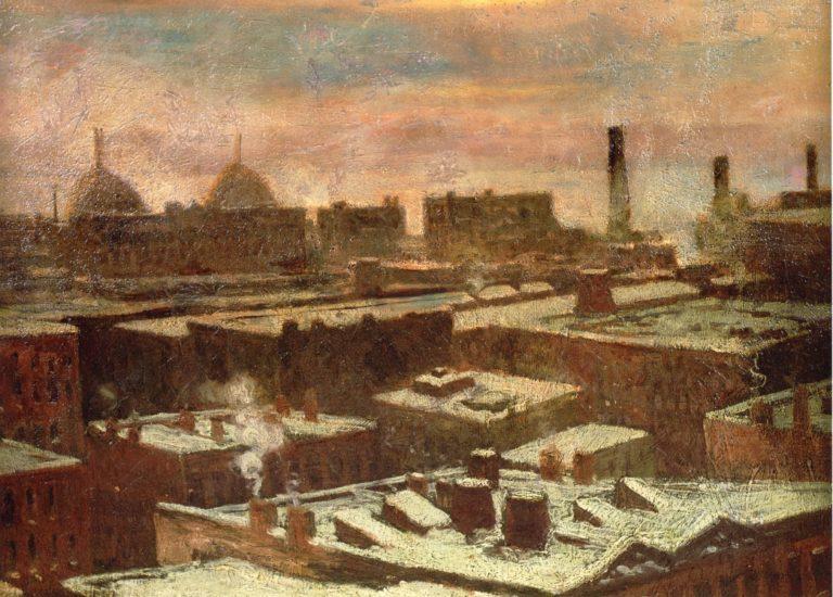 View of City Rooftops in Winter | Julian Onderdonk | oil painting