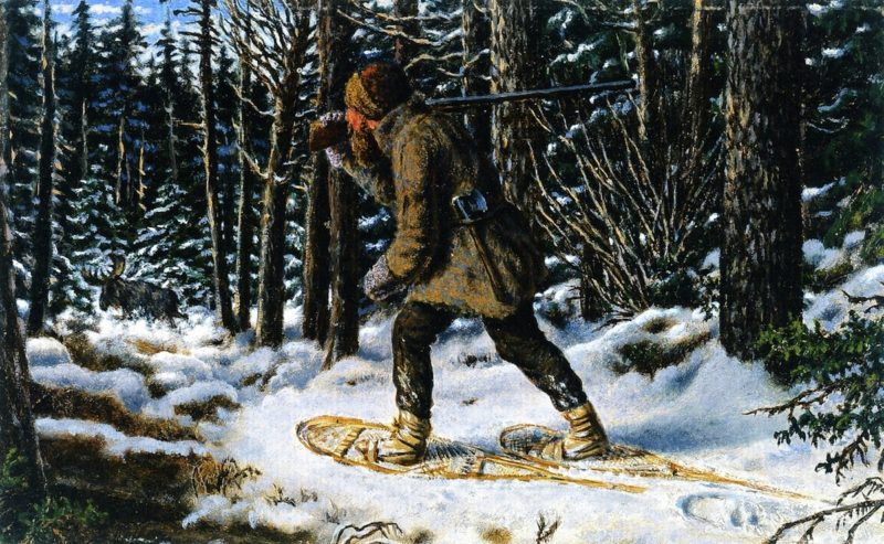 Moose Hunting Winter Manitoba | William George Richardson Hind | oil painting