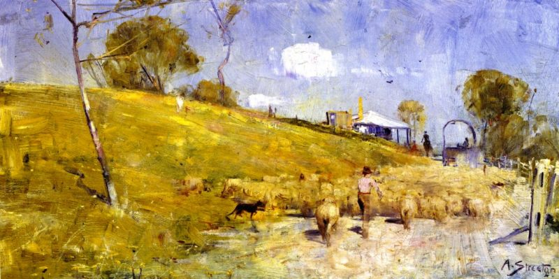 A Dusty Road at Templestowe   Sir Arthur Streeton   oil painting