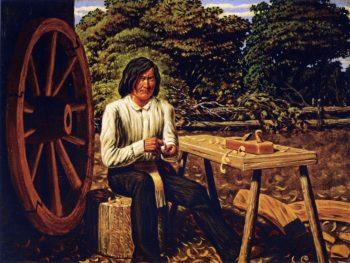 Metis Making Wheel for Red River Cart Manitoba | William George Richardson Hind | oil painting