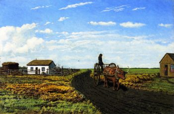 Manitoba Settler's House and Red River Cart | William George Richardson Hind | oil painting