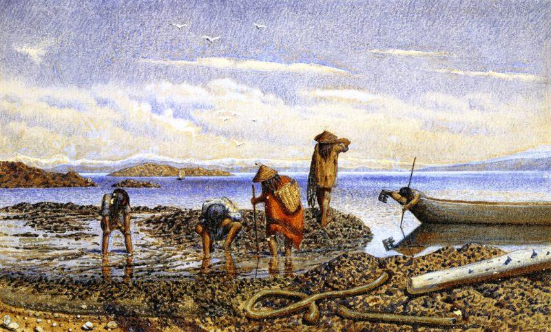 Indians Gathering Shellfish Victoria Island   William George Richardson Hind   oil painting
