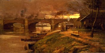 Between the LIghts Princess Bridge | Sir Arthur Streeton | oil painting