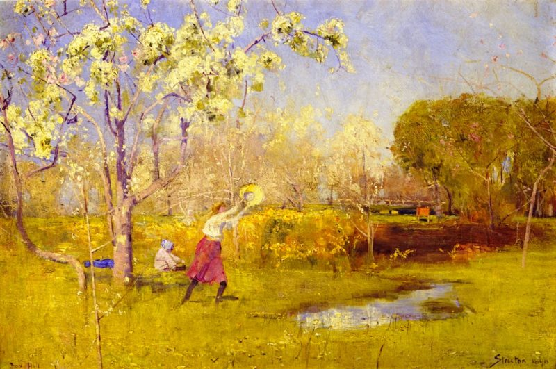Butterflies and Blossoms   Sir Arthur Streeton   oil painting