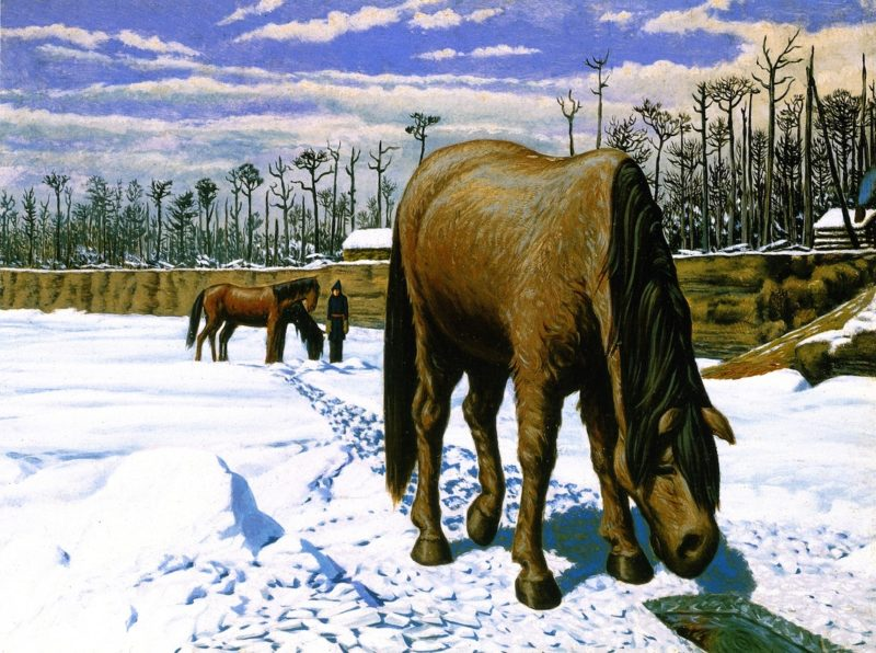Horse Drinking at an Ice Hole | William George Richardson Hind | oil painting