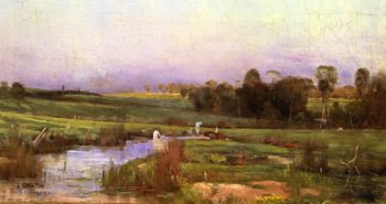 Evening with Bathers | Sir Arthur Streeton | oil painting