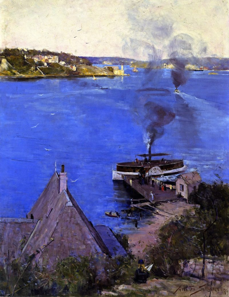 From McMahon's Point Fare One Penny   Sir Arthur Streeton   oil painting