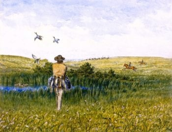 Duck Hunting on the Prairies with an Immigrant Wagon Train in the Distance | William George Richardson Hind | oil painting