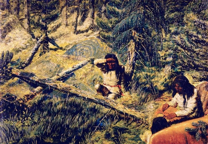Drawing a Map on Birch Bark | William George Richardson Hind | oil painting