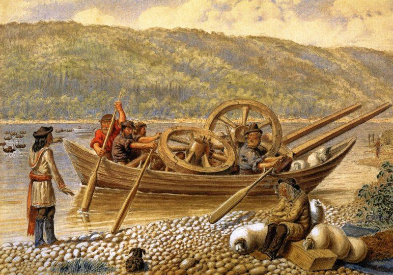 Crossing the Battle River North Western Prairie Saskatchewan District | William George Richardson Hind | oil painting