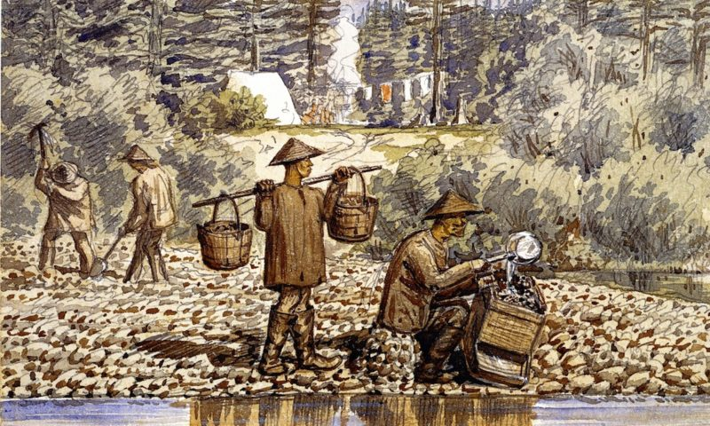 Chinese Goldwashers on the Fraser River   William George Richardson Hind   oil painting