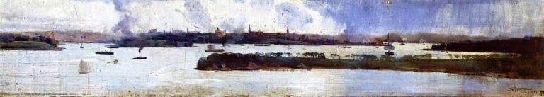 Rain over Sydney Harbour | Sir Arthur Streeton | oil painting