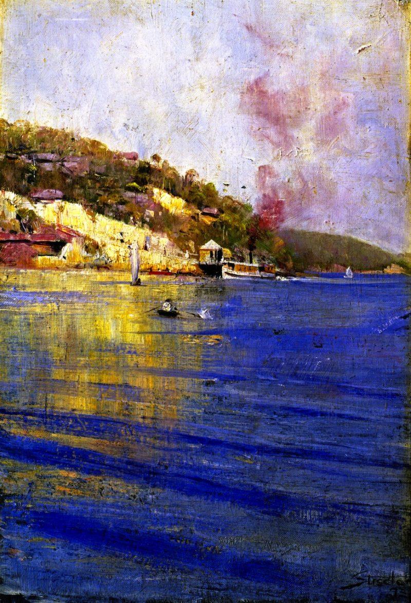 The Point Wharf Mosman Bay | Sir Arthur Streeton | oil painting