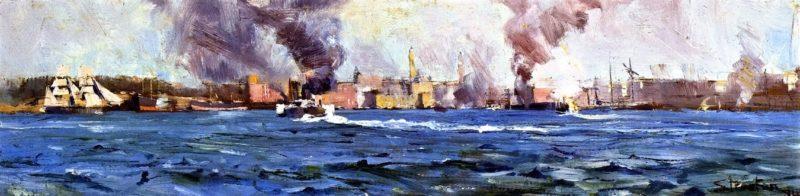 View of Sydney Cve   Sir Arthur Streeton   oil painting
