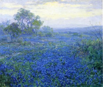 A Cloudy Day Bluebonnets near San Antonio Texas | Julian Onderdonk | oil painting