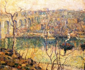 High Bridge Early Moon | Ernest Lawson | oil painting