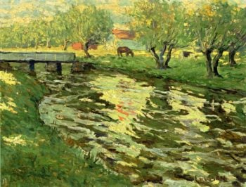 Horses Grazing by a Stream | Ernest Lawson | oil painting