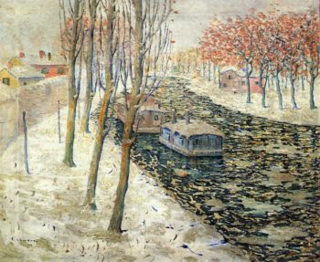 Canal Scene in Winter | Ernest Lawson | oil painting