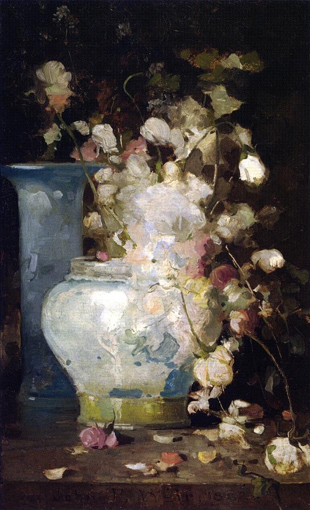 Roses and Lilacs | John Ferguson Weir | oil painting