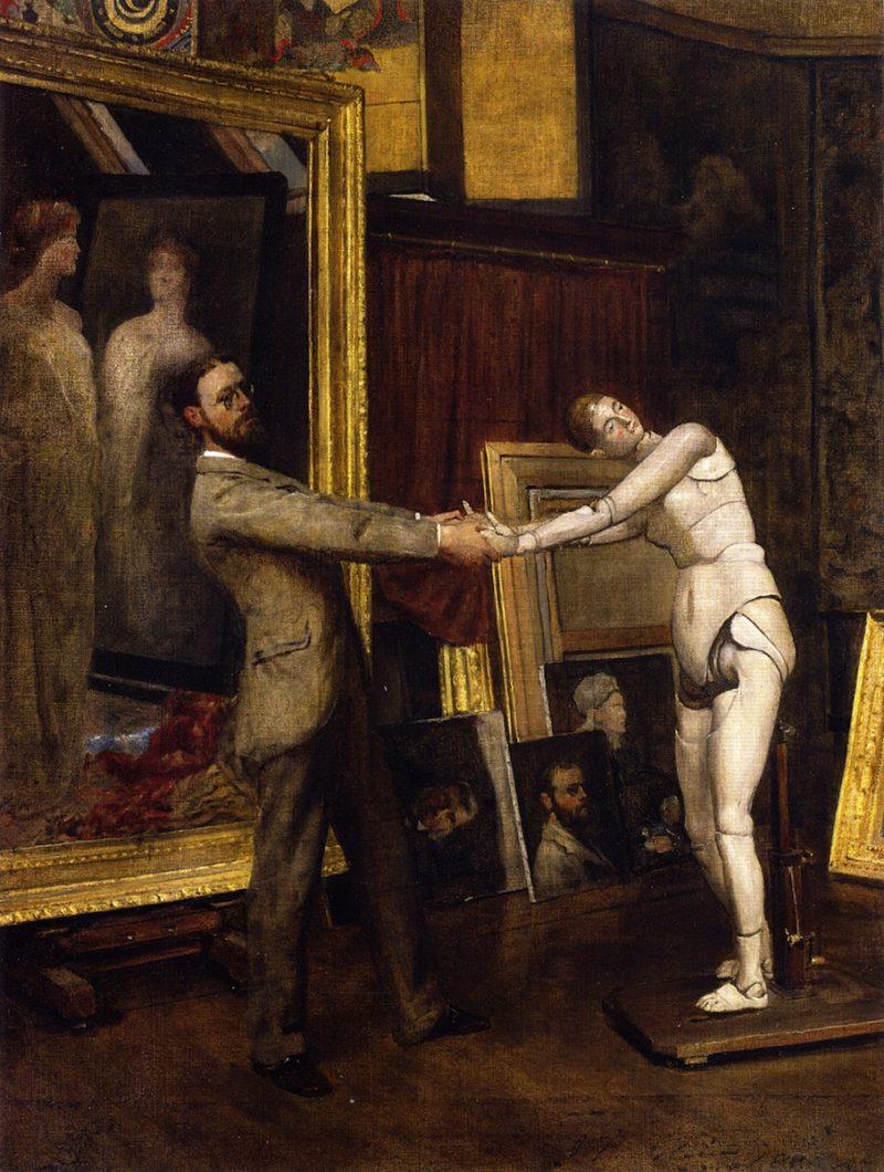 His Favorite Model   John Ferguson Weir   oil painting