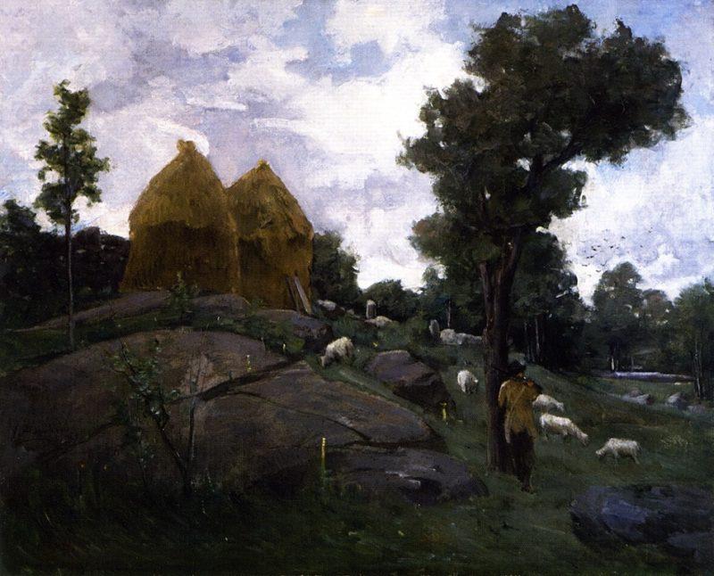 Haystacks Shepherd and Sheep | John Ferguson Weir | oil painting