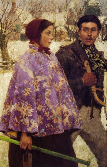 The Skaters   Gari Melchers   oil painting