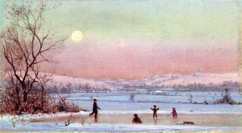 Ice Skating near Hudson | Jervis McEntee | oil painting