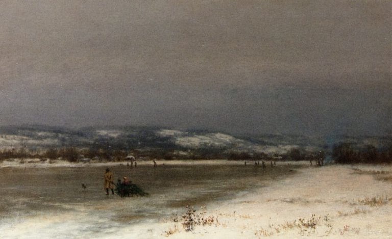 Gathering Christmas Fiinery at Roundout New Jersey   Jervis McEntee   oil painting