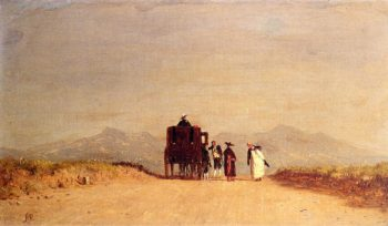 A Journey's Pause in the Roman Campagna | Jervis McEntee | oil painting